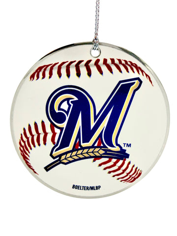 MILWAUKEE BREWERS MLB Round Metal Baseball Ornament