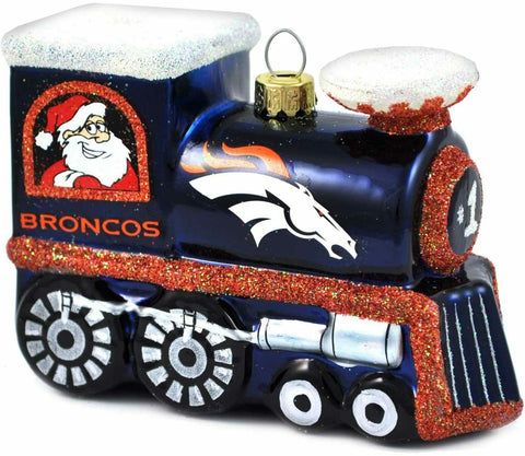 DENVER BRONCOS NFL BLOWN Glass Train Christmas Tree Ornament