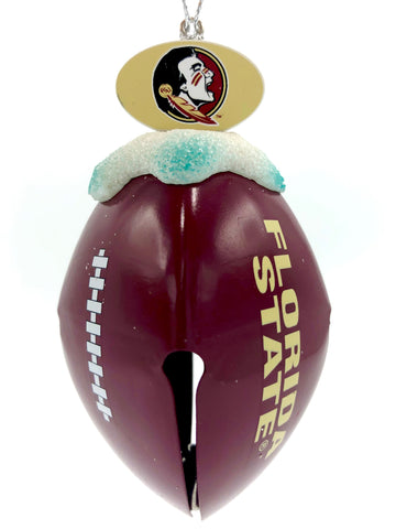 FLORIDA STATE SEMINOLES NCAA Metal Football Bell Christmas Ornament