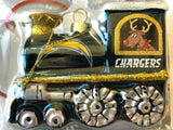 LOS ANGELES (SAN DIEGO) CHARGERS NFL Blown Glass Train Christmas Tree Ornament