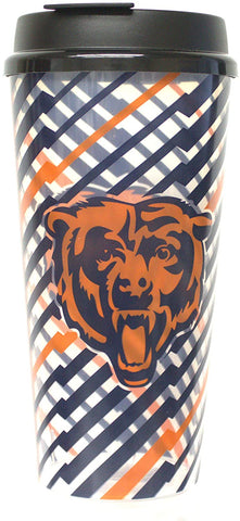 CHICAGO BEARS NFL Single Wall Striped Plastic Travel Tumbler, 32oz