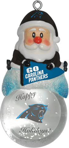 CAROLINA PANTHERS NFL Snow Globe Santa Ornament