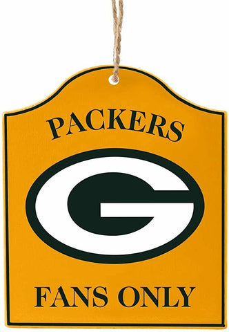 "GREEN BAY PACKERS NFL Wooden ""Fans Only"" Sign Christmas Ornament"