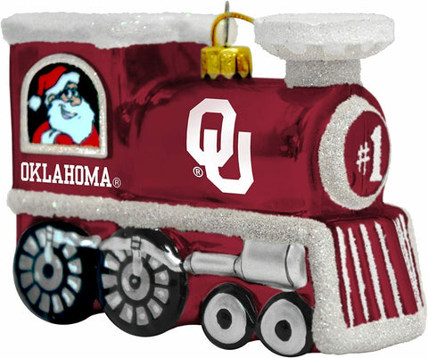 OKLAHOMA SOONERS NCAA Blown Glass Train Christmas Tree Ornament