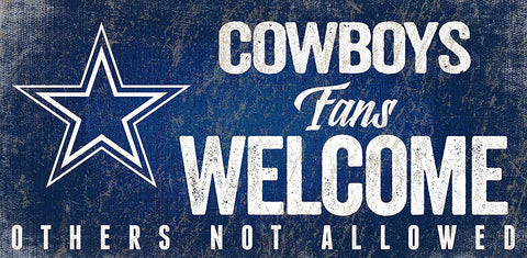 "DALLAS COWBOYS NFL ""Fans Welcome"" Wood Sign with Rope, 12""x 6"""