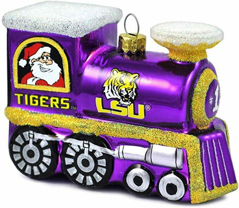 LSU TIGERS NCAA Blown Glass Train Christmas Tree Ornament