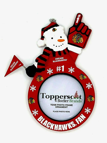 CHICAGO BLACKHAWKS NHL Snowman Photo Frame Christmas Ornament