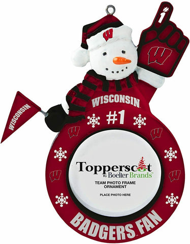 WISCONSIN BADGERS NCAA Snowman Photo Frame Christmas Ornament