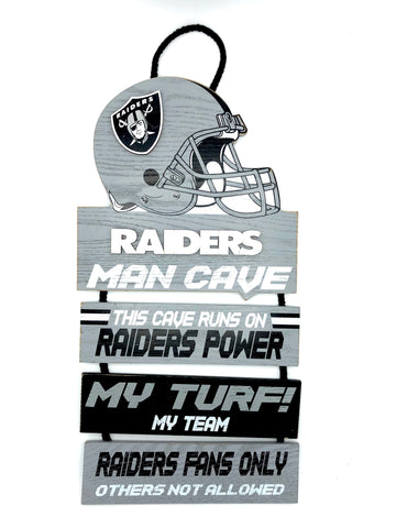 "LAS VEGAS (OAKLAND) RAIDERS NFL Team Helmet Rustic ""Man Cave"" 4-Piece Wood Sign"