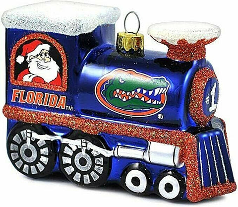 FLORIDA GATORS NCAA Blown Glass Train Christmas Tree Ornament