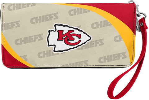 KANSAS CITY CHIEFS NFL Women's Synthetic Leather Curve-Zip Organizer Wallet