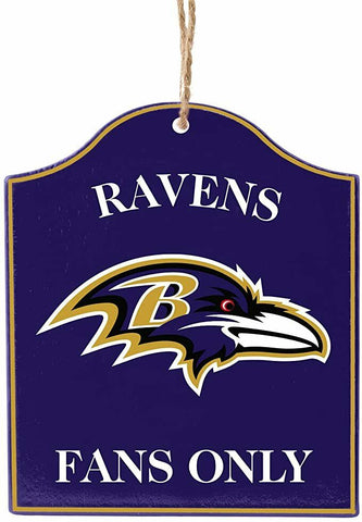 "BALTIMORE RAVENS NFL Wooden ""Fans Only"" Sign Christmas Ornament"