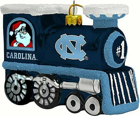 NORTH CAROLINA TAR HEELS NCAA Blown Glass Train Christmas Tree Ornament