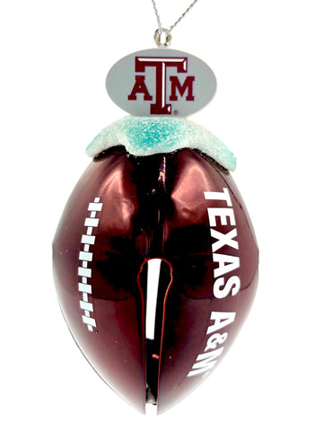 TEXAS A&M AGGIES NCAA Metal Football Bell Christmas Ornament