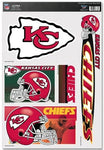 KANSAS CITY CHIEFS NFL Reusable Vinyl Decals Set of 5 for Car or Home Windows
