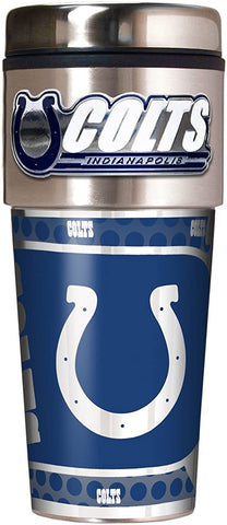 INDIANAPOLIS COLTS Metallic Travel Tumbler - Stainless Steel and Black Vinyl