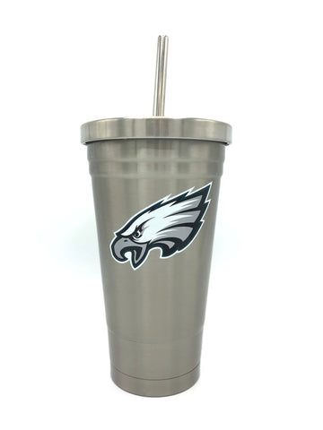 PHILADELPHIA EAGLES Double Wall Stainless Steel Thermo Tumbler with Straw, 17oz
