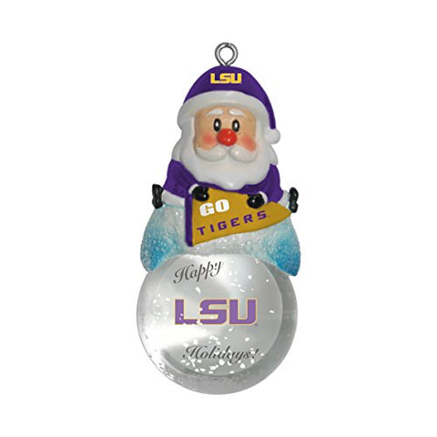 LSU TIGERS NCAA Snow Globe Santa Ornament