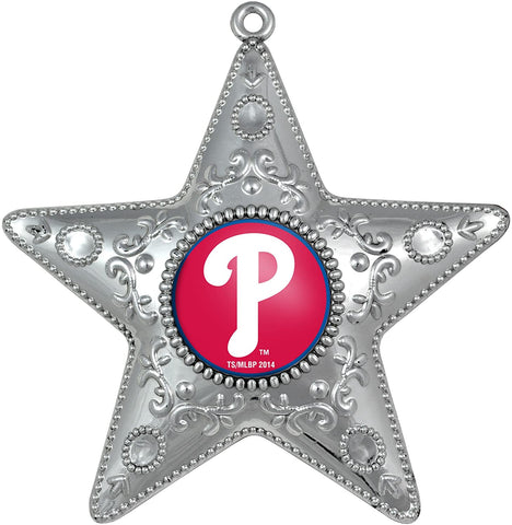 PHILADELPHIA PHILLIES MLB Silver Star Christmas Ornament