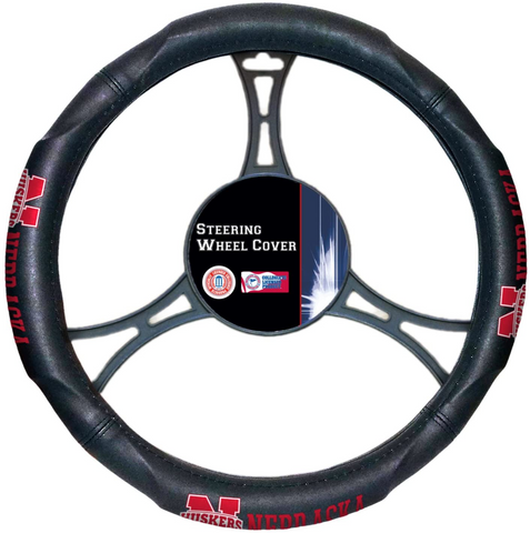 NEBRASKA CORNHUSKERS NCAA Premium Synthetic Leather Steering Wheel Cover