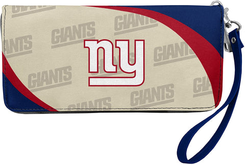 NEW YORK GIANTS NFL Women's Synthetic Leather Curve-Zip Organizer Wallet