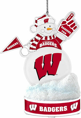 "WISCONSIN BADGERS NCAA LED Snowman Christmas Ornament ""It Lights Up!!!"""