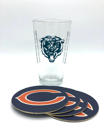 CHICAGO BEARS NFL Pint Glass and Coaster Set