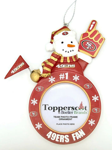 SAN FRANCISCO 49ers NFL Snowman Photo Frame Christmas Ornament