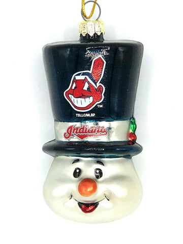 CLEVELAND INDIANS MLB Top Hat Snowman Christmas Ornament