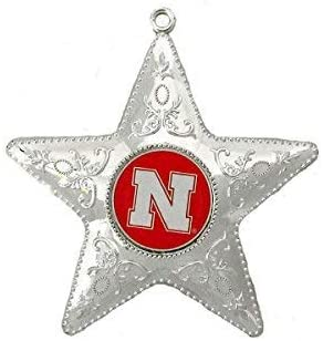 NEBRASKA CORNHUSKERS NCAA Silver Star Christmas Ornament