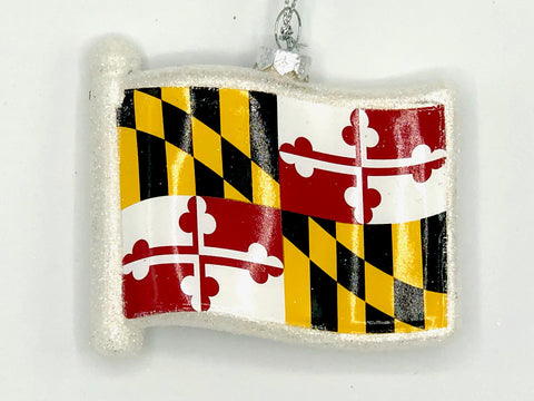 MARYLAND STATE FLAG Blown Glass Glitter Ornament