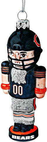 CHICAGO BEARS NFL Football Player Nutcracker Blown Glass Christmas Ornament