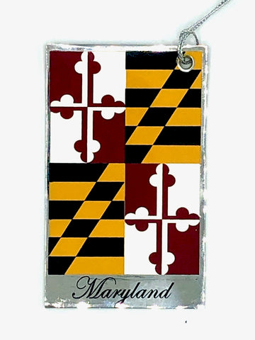 MARYLAND STATE FLAG Flat Nickel-Plated Metal Ornament