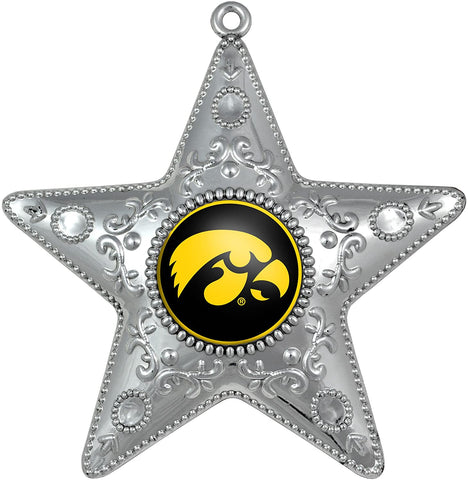 IOWA HAWKEYES NCAA Silver Star Christmas Ornament