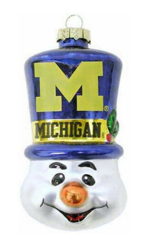 MICHIGAN WOLVERINES NCAA Top Hat Snowman Christmas Ornament