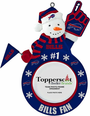 BUFFALO BILLS NFL Snowman Photo Frame Christmas Ornament