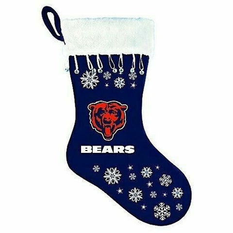 CHICAGO BEARS NFL Snowflake Christmas Santa Stocking