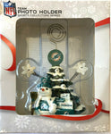MIAMI DOLPHINS NFL Christmas Tree Photo Holder with Snowman