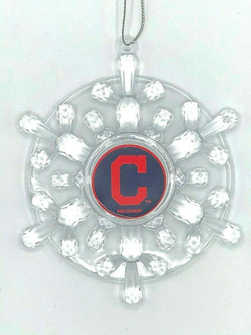 CLEVELAND INDIANS MLB Traditional Acrylic Snowflake Christmas Ornament