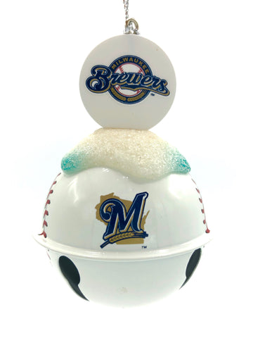 MILWAUKEE BREWERS MLB Metal Baseball Bell Ornament