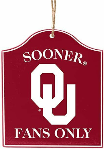"OKLAHOMA SOONERS NCAA Wooden ""Fans Only"" Sign Christmas Ornament"
