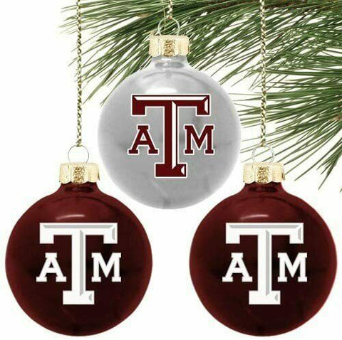 TEXAS A&M AGGIES NCAA Collegiate Logo Round Glass Ornaments Set of 3
