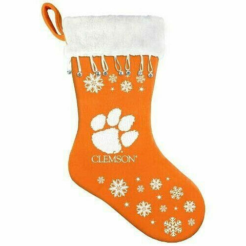 CLEMSON TIGERS NCAA Snowflake Christmas Santa Stocking