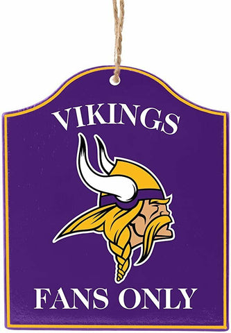 "MINNESOTA VIKINGS NFL Wooden ""Fans Only"" Sign Christmas Ornament"