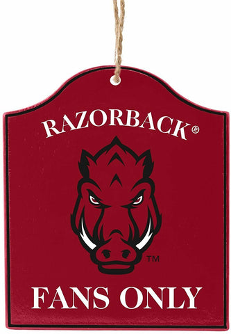 "ARKANSAS RAZORBACKS NCAA Wooden ""Fans Only"" Sign Christmas Ornament"