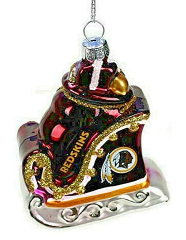WASHINGTON REDSKINS NFL Blown Glass Glitter Sleigh Christmas Ornament