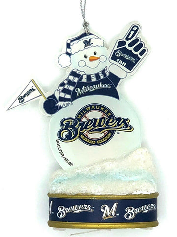"MILWAUKEE BREWERS MLB LED Snowman Christmas Ornament ""It Lights Up!!!"""