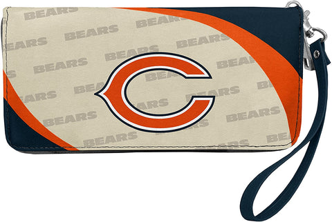 CHICAGO BEARS NFL Women's Synthetic Leather Curve-Zip Organizer Wallet