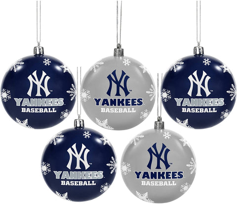 NEW YORK YANKEES MLB 5-Pack Shatterproof Ball Ornament Set
