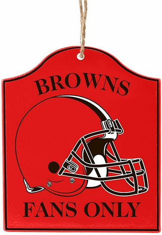 "CLEVELAND BROWNS NFL Wooden ""Fans Only"" Sign Christmas Ornament"